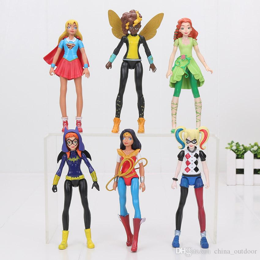 20sets Super Hero Girls Wonder Woman Veneno Ivy Harley Quinn Bumble Bee 6pcs / set Figura de acción