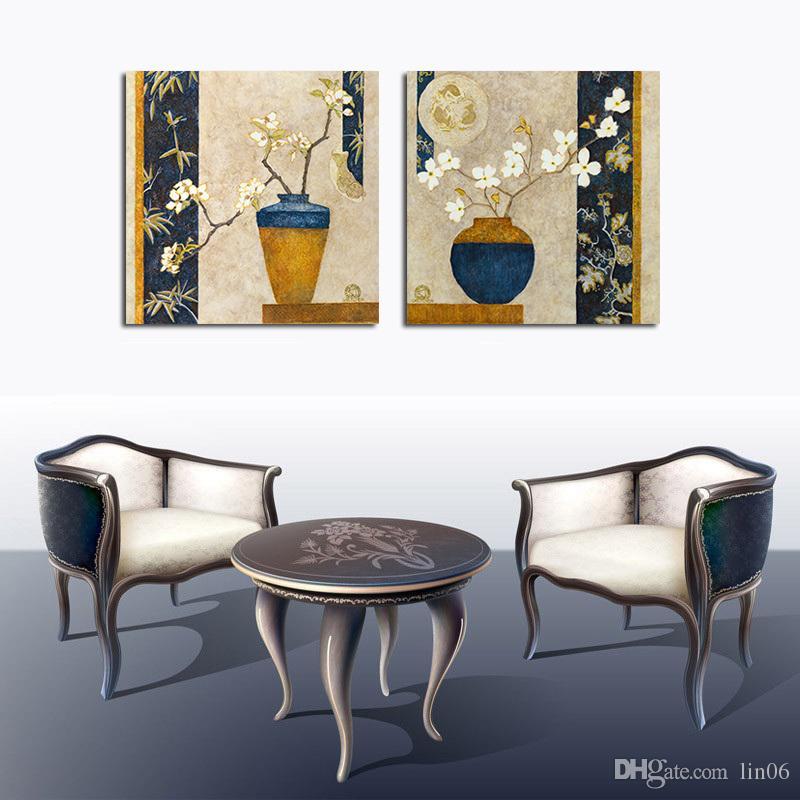 Satın Al 2 Parça Tuval Boyama Sanatı çiçek Vazo Boyama Ayarı Sprey
