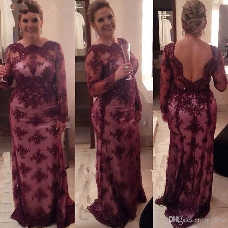 Burgundy Lace Mother of the Bride Dresses Long Sleeve Backless Beaded Lace Sheath Floor Length Women Formal Gowns Custom Made