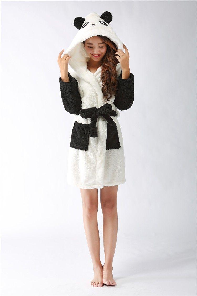 2018 Wholesale New Plush Robe Adult Animal Panda Pajamas Long Sleeve ...