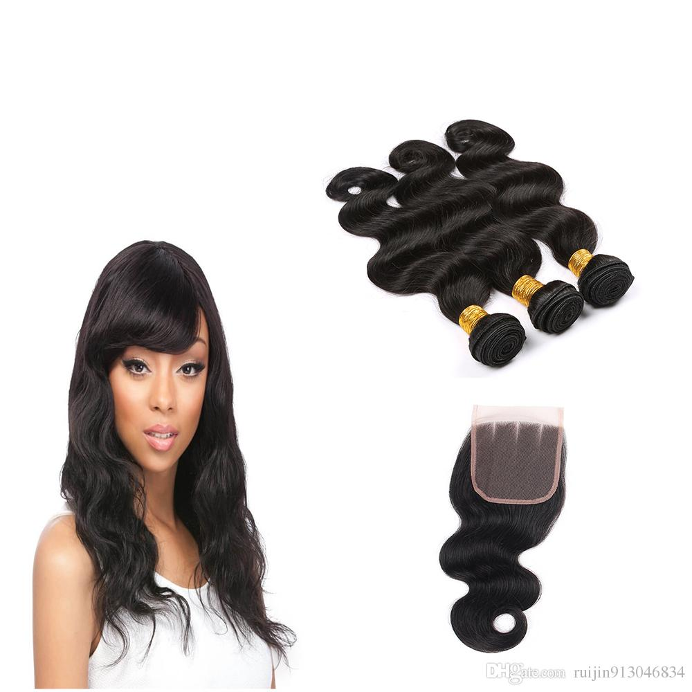 No Chemical Smell Virgin Remy Hair With Lace Closure Body Wave 8a
