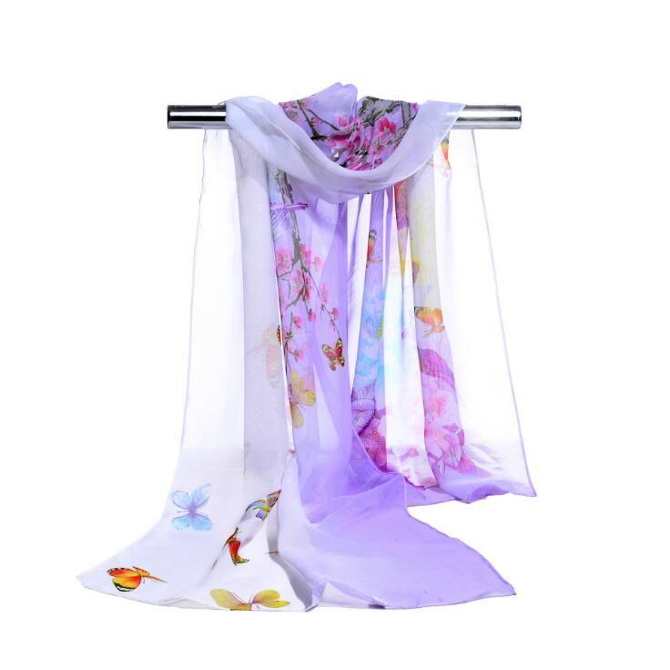 Frauen Chiffon Schal Beachwear Frühling Neue 2017 Mode Frauen Seidenschal Chiffon Schal Schals Schmetterling und große Blumendruck