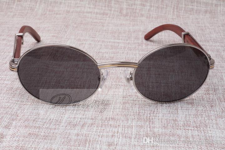 Lunettes de soleil rondes Cattle Corne Lunettes 7550178 Bois hommes et femmes lunettes de soleil glasess Taille Lunettes: 55-22-135mm