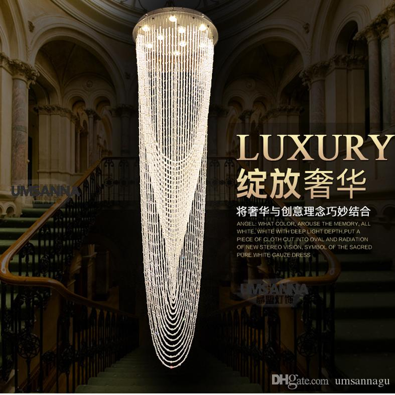 Led modern chandeliers big long round crystal chandelier lighting led modern chandeliers big long round crystal chandelier lighting fixture hotel home indoor lighting crystal hanging lamp ac90v 260v hanging chandelier aloadofball