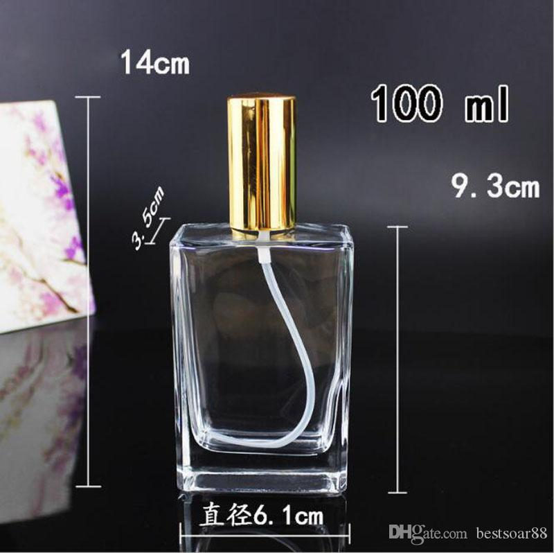 Newest Style 30ml 50ml 100ml Square Glass Spray Refillable Perfume Bottles Clear Glass Automizer Empty Cosmetic Container For Travel