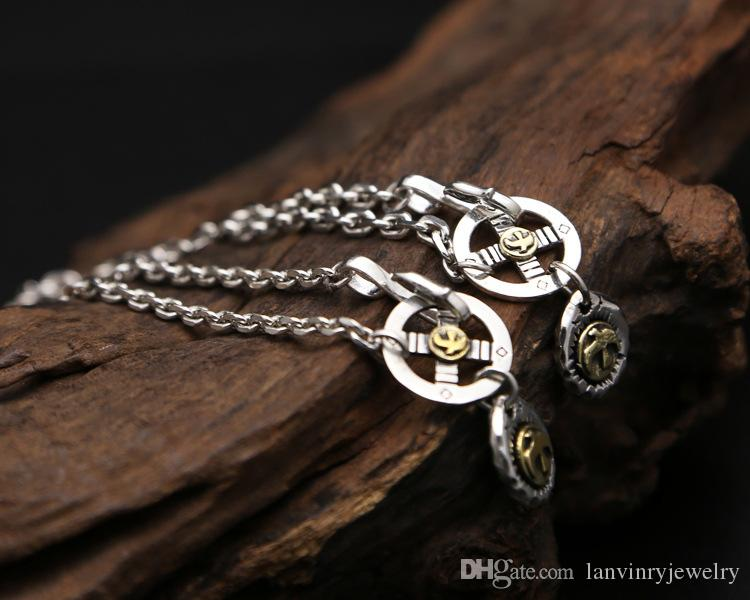 925 sterling silver vintage jewelry pendant necklace for men and women eagle and cross charm pendant Japan style long necklace