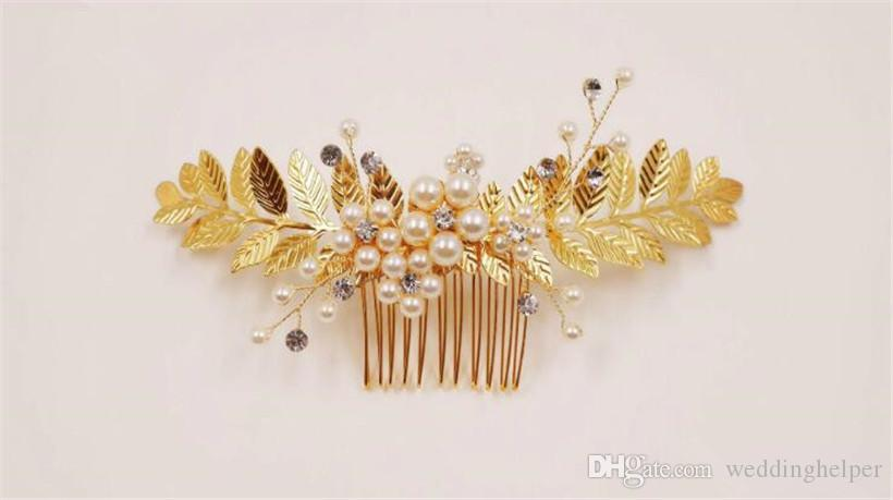Vintage Wedding Bridal Gold Leaf Hair Accessories Comb Pearl Clips Crystal Rhinestone Jewelry Headpiece Gold Jewelry Headdress Party Prom CM