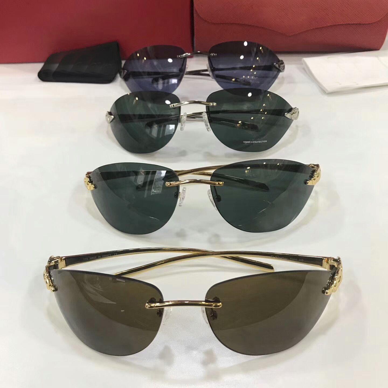 Men Gold Green Lenes Sunglasses Frameless Fashion Rimless Sunglass women Shades with hard box