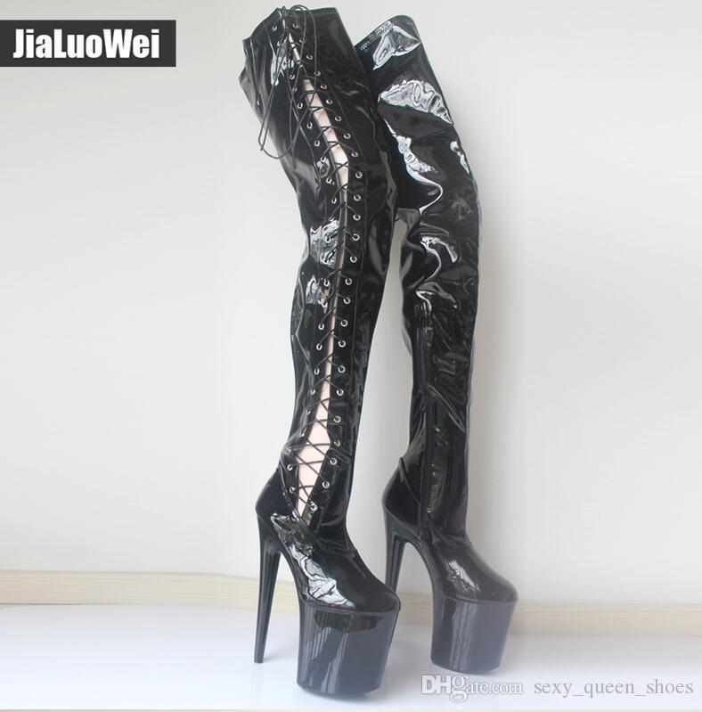 829f2b0d4f6201 Extremely 20cm Women High Heels Boot Sexy Over The Knee Long Boots Black  Shoes Pleaser Platform Thigh High Boots Side Ribbon Lace Free Ship Shoe  Sale Pumps ...