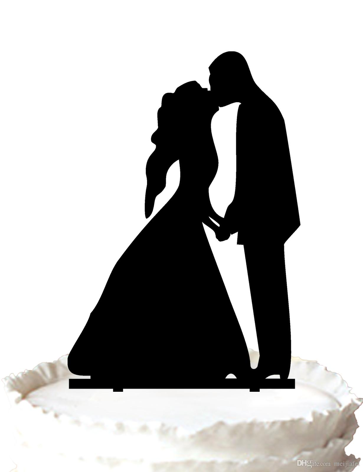 2017 wedding cake topper bride and groom silhouette holding hands