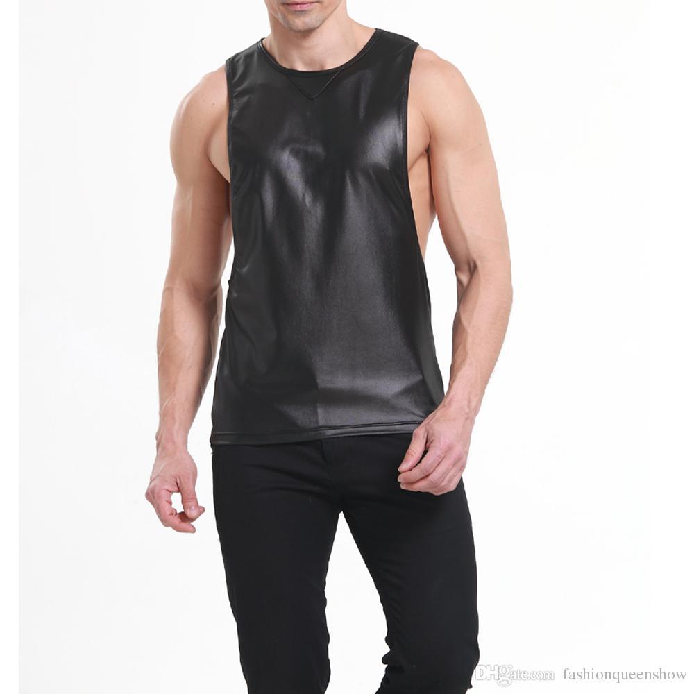 Comfortable Red Black Color Tank Tops Men Faux Leather Singlet T-shirt Boxer Sleeveless Deep Armhole Vest