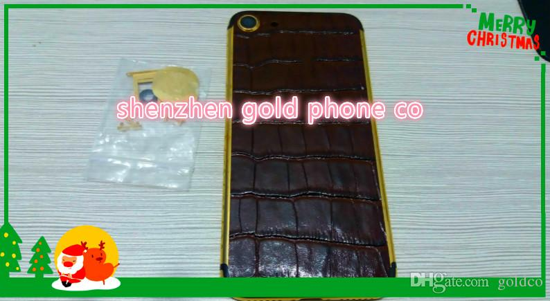 24K Gold Diamond Plating real leather Back Housing Cover Skin Battery Door For iPhone 7 7+ Luxury Limited Edition 24Kt Golden Authentic case