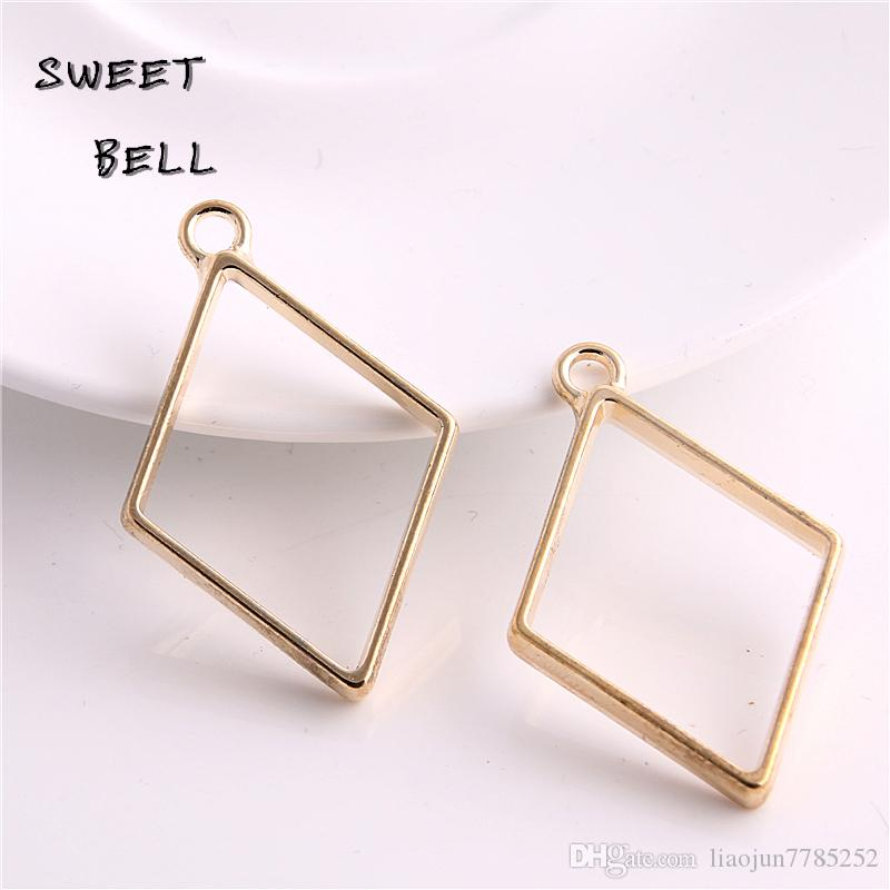 Min order 26*40mm Alloy jewelry setting accessories rhombus charms Hollow glue blank pendant tray bezel charms DIY Handmade D6098-1