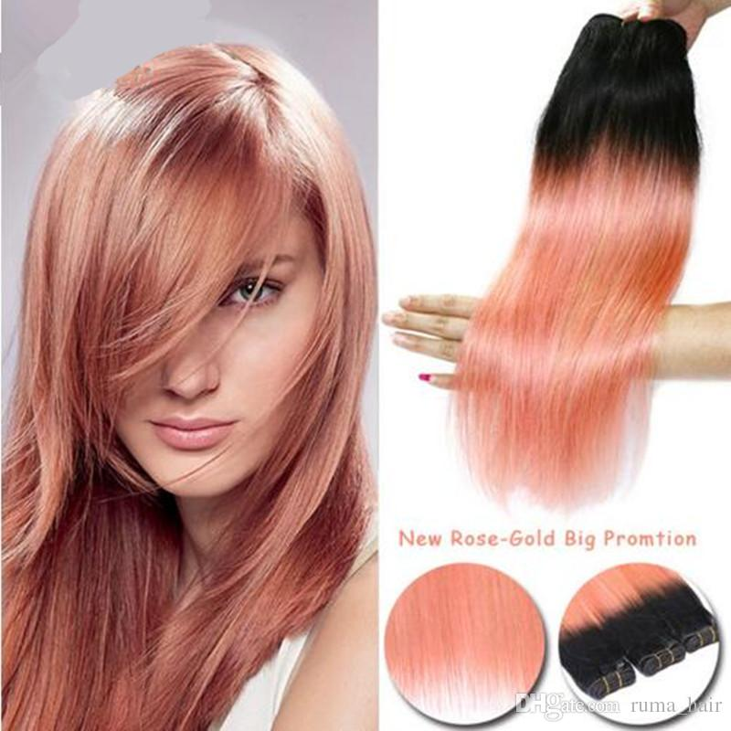 2019 Ombre Hair Extensions Rose Gold With Dark Roots Brazilian