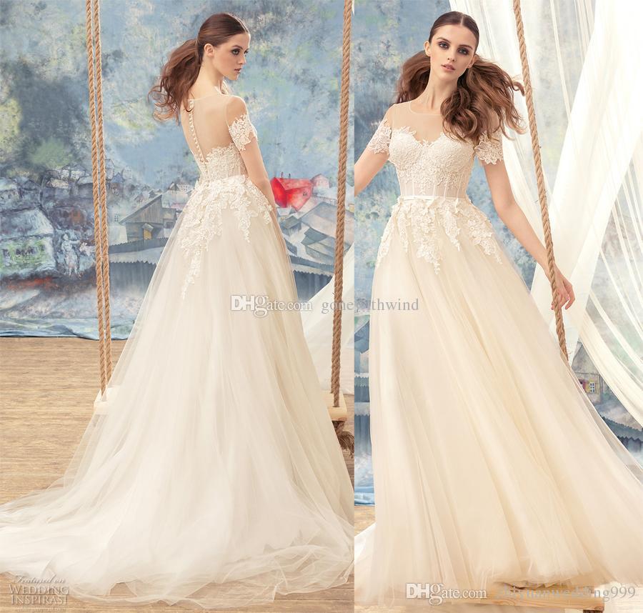 Discount Bustier Romantic Short Sleeves Wedding Dresses Papilio 2017 ...