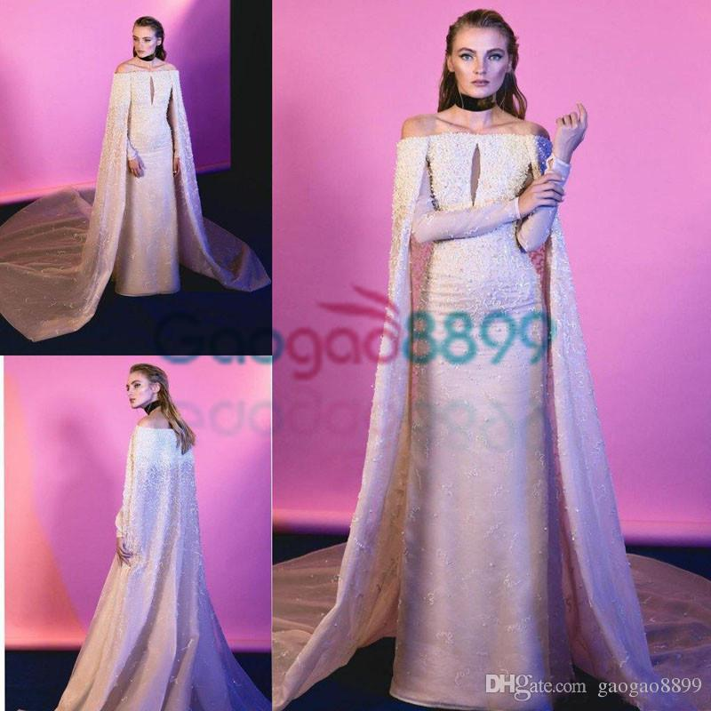 Fashion 2017 Sheath Evening Dresses With Wrap Cape Off Shoulder ...