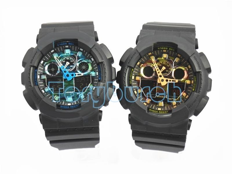 высокое качество Relogio 100 с коробкой мужских спортивных часов совершенно новые мужскими часами LED военных часов хронографа, цифровые часы