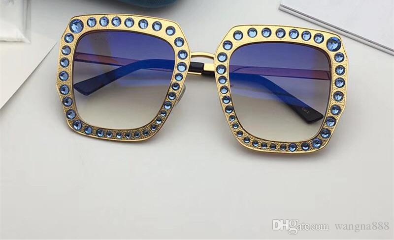 Mulheres de luxo Designer de Óculos De Sol 0115 Metal Quadrado Quadro Mosaico Brilhante Cristal Colorido Diamante de Alta Qualidade Lente UV400 Vem Com Caixa Original