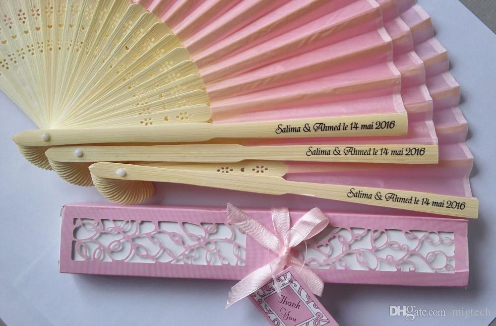 / personalisierte luxuriöse Seidenfalte Handventilator in der eleganten Lasergeschnittene Geschenkbox + Party Gefälligkeiten / Hochzeitsgeschenke + Druck 10 Farbe
