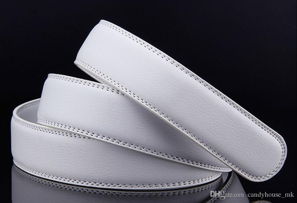2017 Cuoio da uomo in pelle argento automatico con cinturini in coccodrillo bianco fibbia cintura