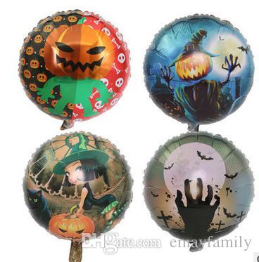 new style halloween decoration aluminum film balloon pumpkin man little witch skull foil balloon free crazy party kids party items kids party kits from