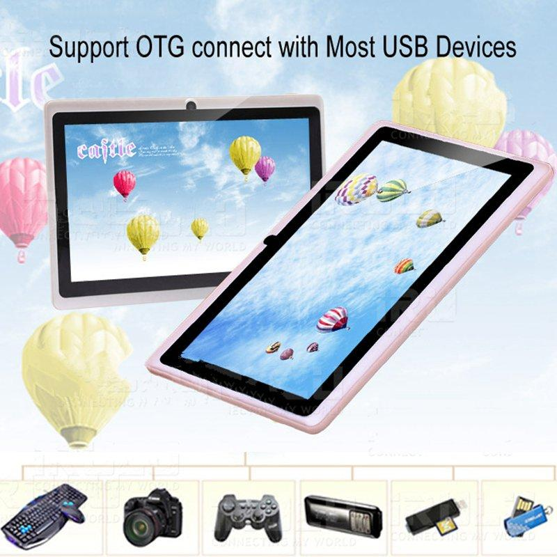 Q88 7 pulgadas Tablet PC Android 4.4 Tablet PC Precio bajo A33 Quade Core doble cámara 8GB 512MB tabletas baratas capacitivas