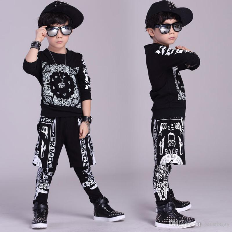 2018 Fashion Kids Hip Hop Clothing Jazz Street Dancewear Children Performance Costume Boys Girls