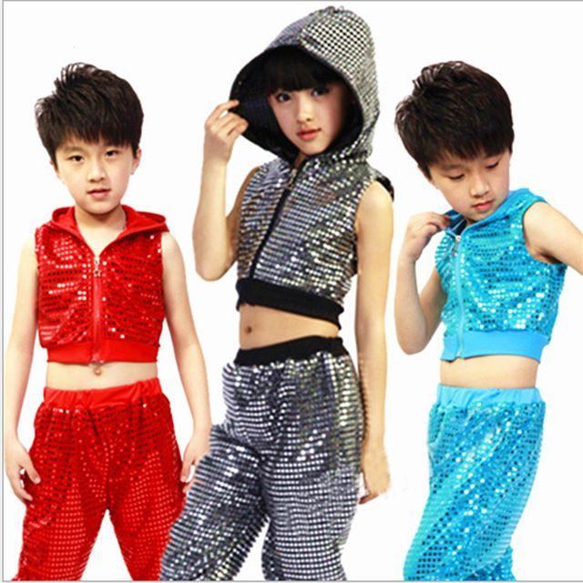 Girl Jazz Dance Boy Girls Costumes Kids Sequin Hip Hop