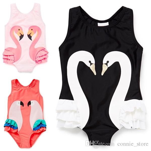 c42415606636c 2019 INS Girls Swan Flamingo One Pieces Swimsuit Children Cartoon Parrot  Sling Baby Fashion Swimming JC75 From Connie store