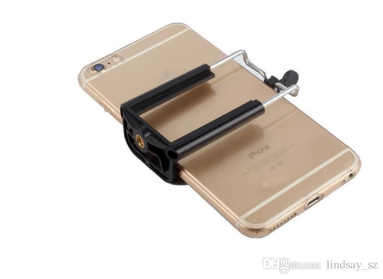 Soporte de montaje de clip de soporte giratorio de 1/4 tornillo para trípode monopie Stick Selfie, soporte universal para teléfono móvil Soporte para cámara Iphone 6