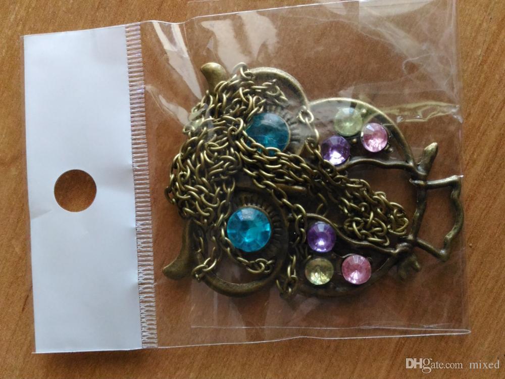Moda dama de cristal búho colgante collar vintage collar de cadena larga de las mujeres joyería de fantasía animal collares regalo