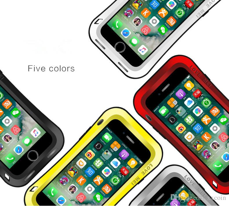 Love MEI Small Waist Shockproof Waterproof Dust Snow Proof Aluminum Metal Case Gorilla Glass Heavy Protection Case Cover for iPhone 7 Plus