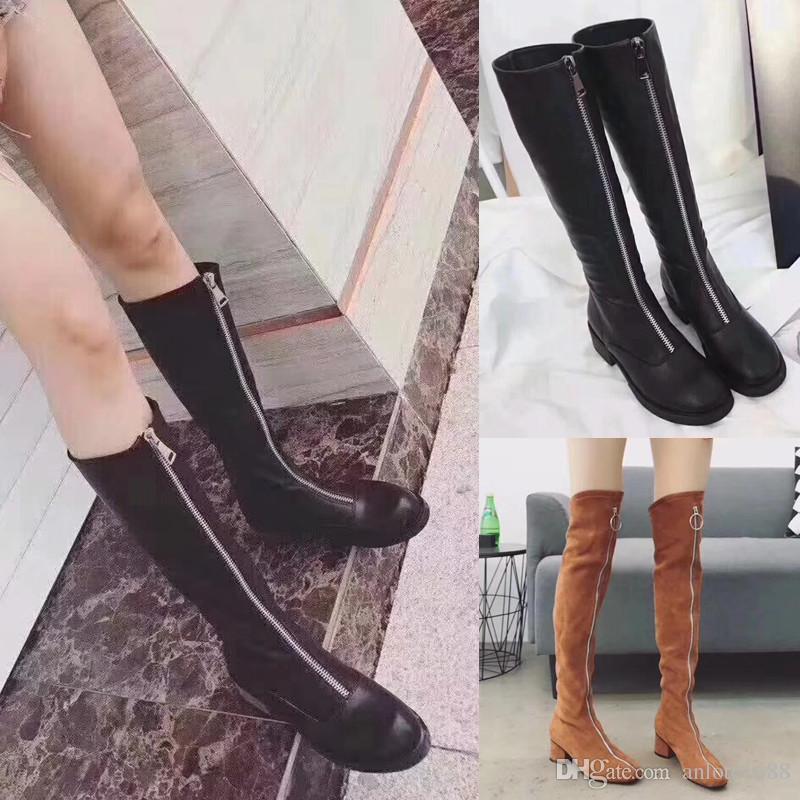 544f468d1bb Compre Moda Cremallera Frontal Mujeres Botas Altas De Rodilla Strench Cuero  De Gamuza Bootie Largo   Corto Botas De Caqui Negro Vestido Zapatos  Casuales ...