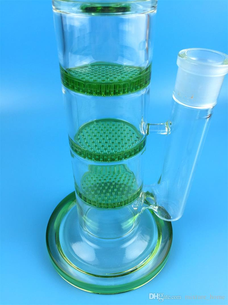43CM Glass water pipes Inline Percolator Double Cross perc jm flow sci Glass bong 3 Pinch Ice Catcher water pipe