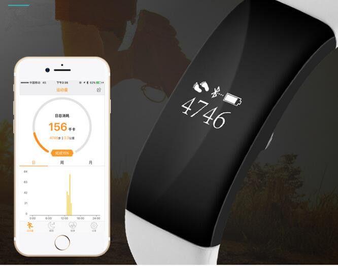 Braccialetto intelligente bluetooth Wristband 0.66 pollici OLED schermo intelligente orologio IP67 impermeabile supporto frequenza cardiaca monitor iphone Android USZ134