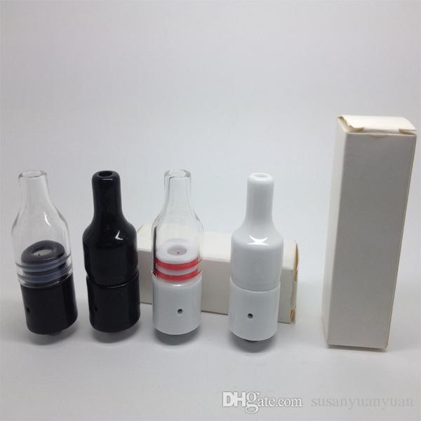 Full Ceramic Glass Wax Atomizer Donut Wickless Coils Herbal Pyrex Dry herb Vaporizer Tank Hookah Cannon Atmos Vape Pen Vapor DHL