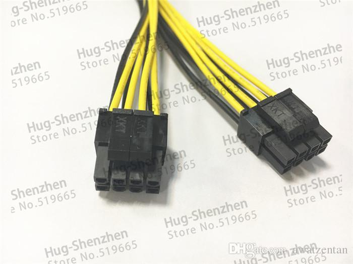 CPU 8Pin 8P 1 Female to 4+4 pin Male 1 to 2 Splitter Power Lead Y Cable Cord 18AWG 20cm for Dual 2 CPU Motherboard Server PC