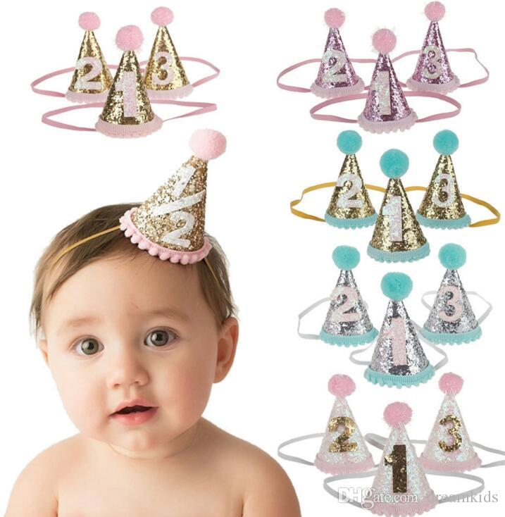 Baby Cute 1 2 3 Birthday Party Hats Dot With Hairball Cap Shower Photo Props Children Decoration Sparkly Hair Accessories Make