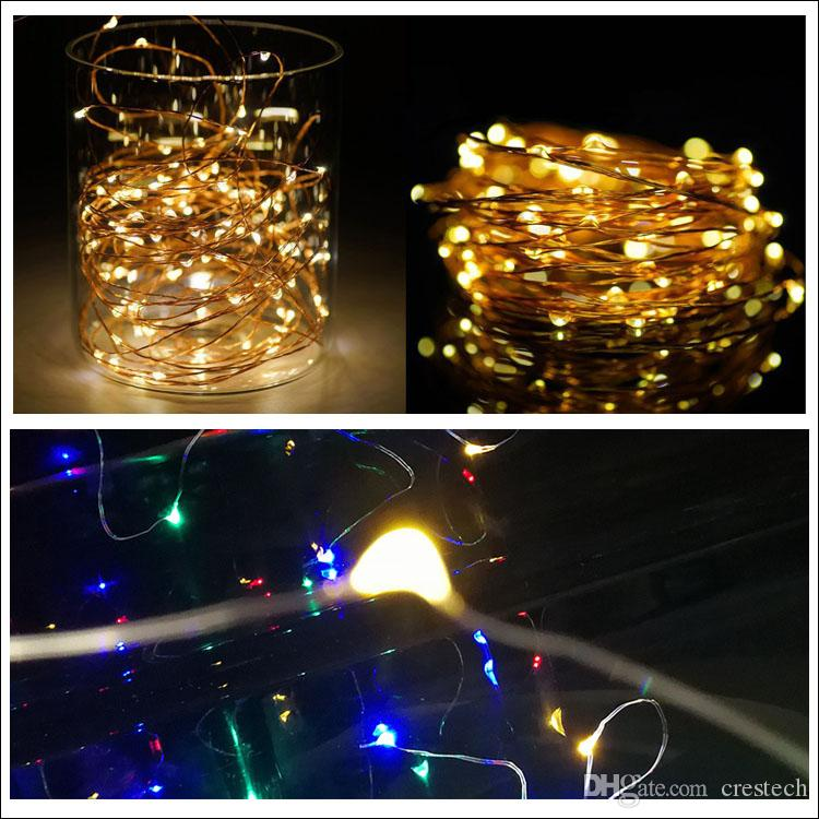 via DHL Xmas gift LED strip Waterproof LED DIY copper wire fairy string 2M 20leds CR2032 button cell