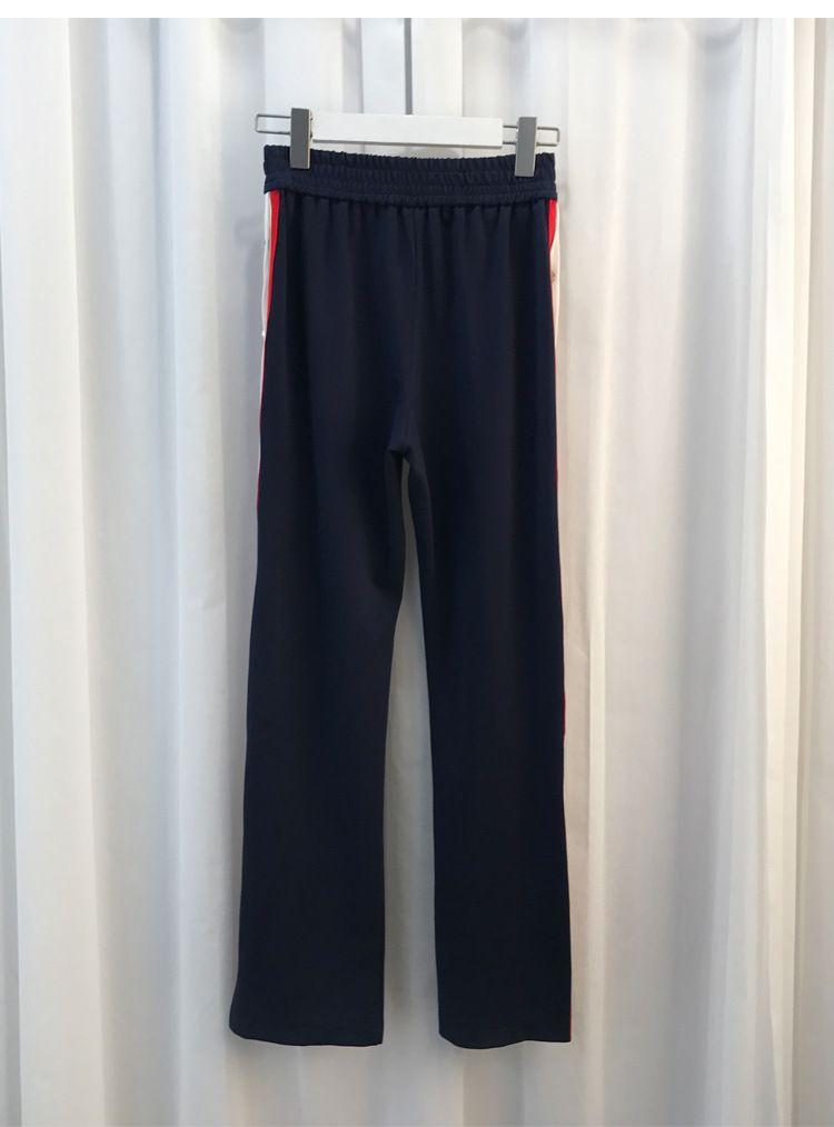 2018 Diseño de Moda Pantalones de Las Mujeres Top Brand Side Button Striped Split Mujeres Pantalones Rectos Pantalones Elásticos de Cintura Mujer