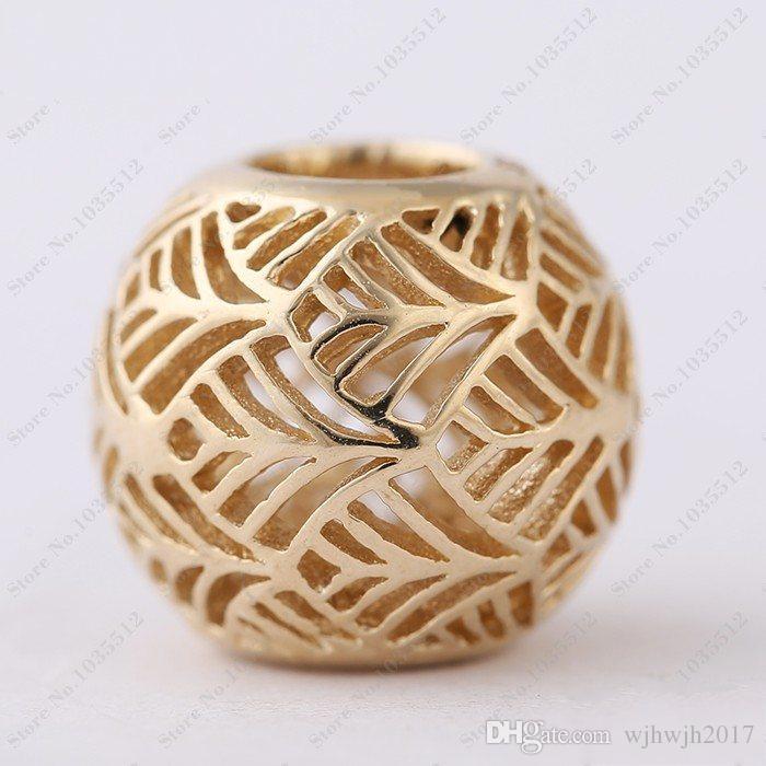 Fit европейские браслеты Diy ювелирные изделия 14 к позолоченные стерлингового серебра 925 ажурные Tropicana лист подвески пальмовое дерево Шарм бисер для женщин