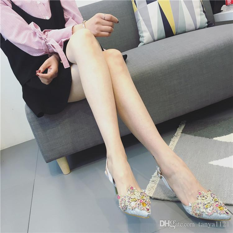 Banquet Wedding Womens Elegant Shoes PointedToes Shoes Summer Sandals Party Prom High Heels Shoe Crystal Lace Buckle Strap Heel 8.5 cm