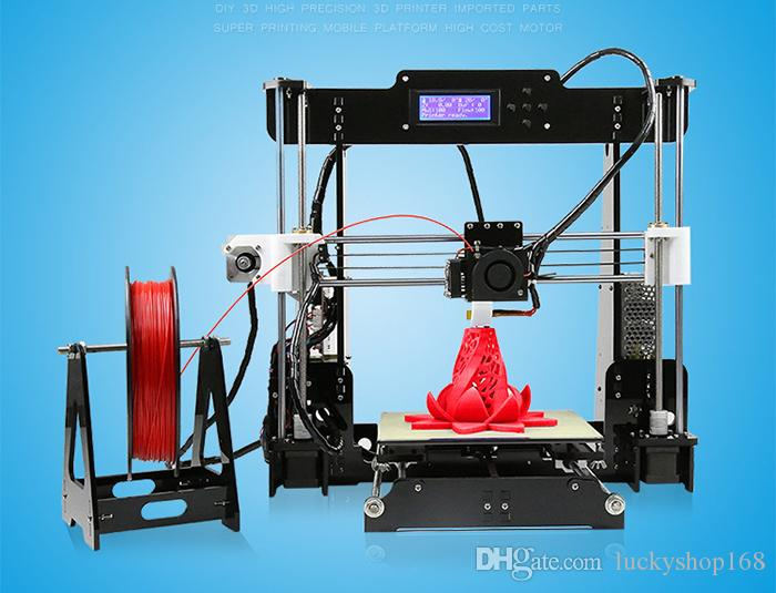 New Upgrade desktop 3D Printer Prusa i5 Size 220*220*240 mm Acrylic Frame LCD 2.5Kg Filament & 16G TF Card for gift big main board DHL