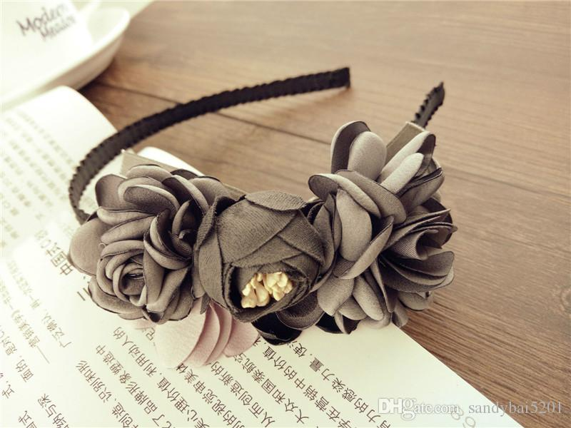Fashion Vintage 3D Flower Children Hair Clasp Korean Floral Hair Accessories Kids Sticks Sweet Flower Girl Hairband Handmade Hairband B471
