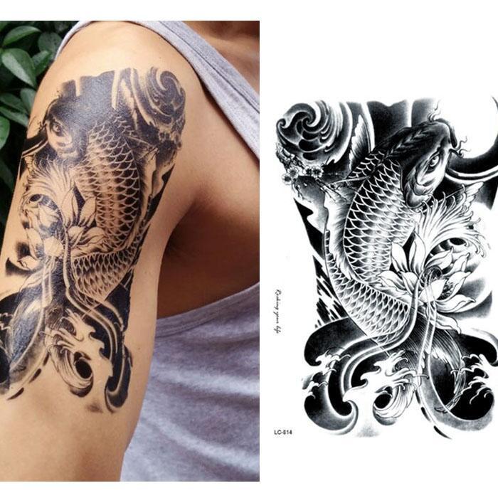 2f4ece83d Black Carp Fish Temporary Tattoos Body Art Flash Tatoos Stickers 12*20cm Fake  Sticker Tatto Swimsuit Bikini Makeup Temporary Tattoo Pictures Temporary ...