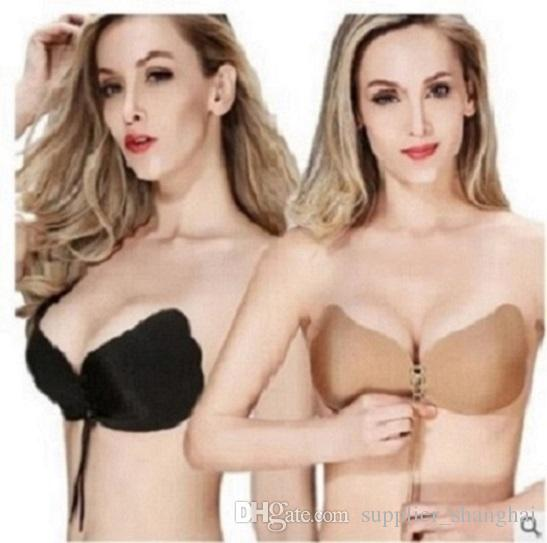 014a3f7539520 Online Cheap Lalabra Women S Strapless Demi Bra Self Adhesive Push Up  Drawstring Nude   Black 100 By Supplier shanghai