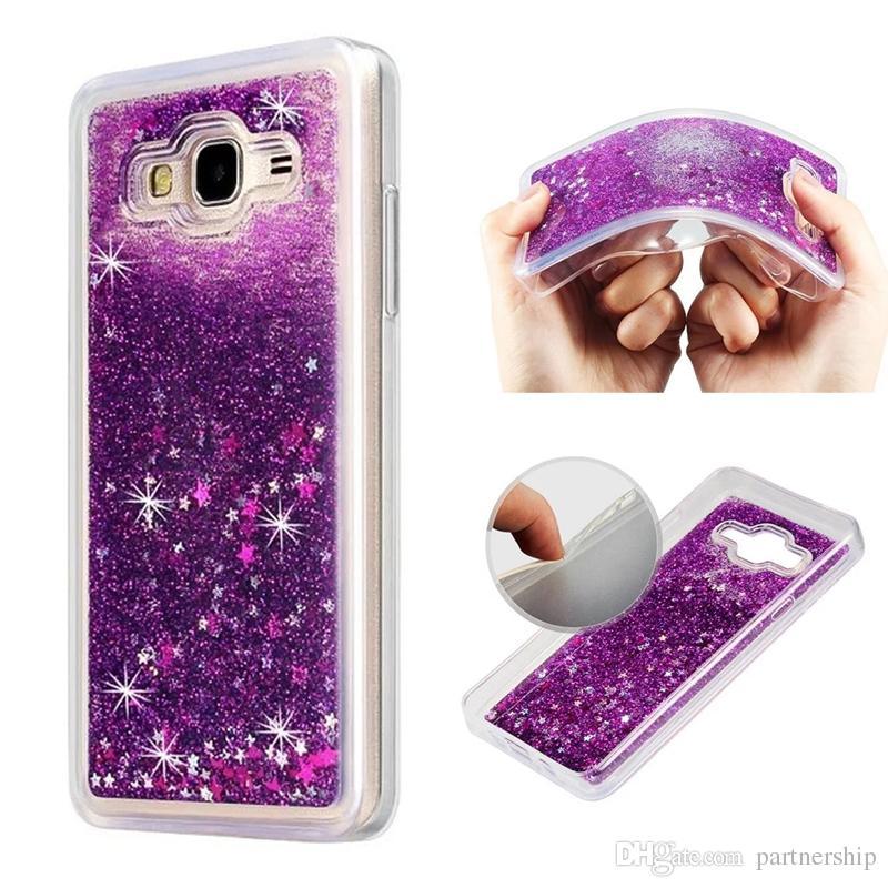 online store 2e487 08636 For Samsung Galaxy J7 on5 2015 J2 J3 J5 prime Case J7 2017 Bling Liquid  Glitter Star Quicksand Clear Case For Samsung Galaxy J3 emerge Case