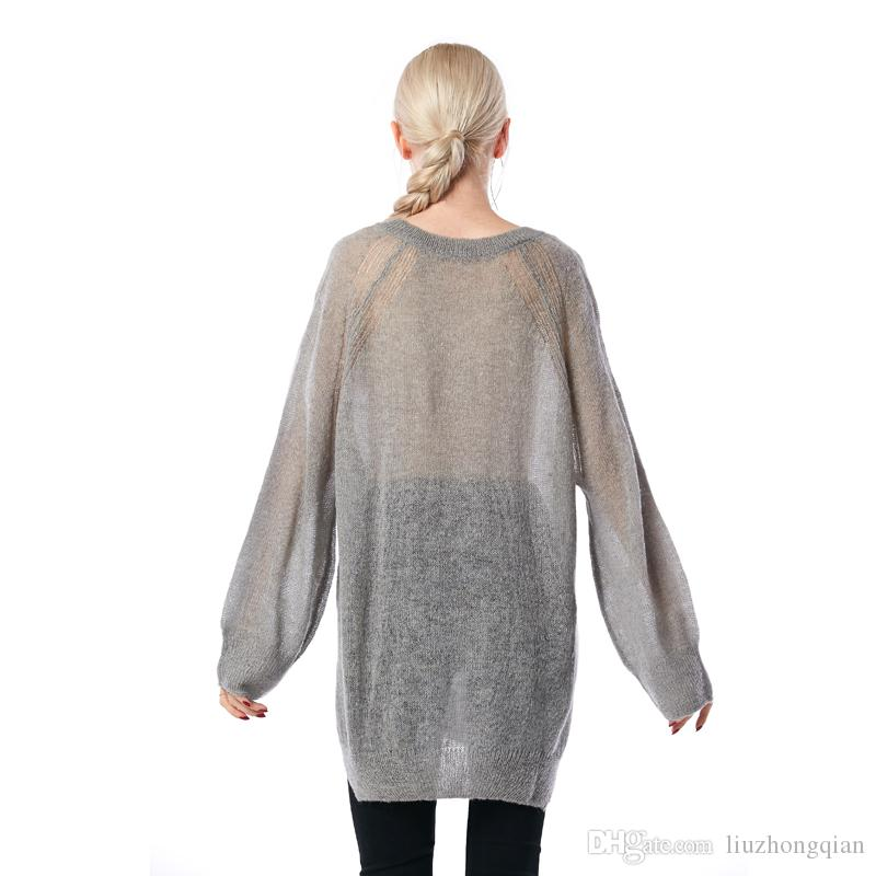 Beauty Garden Women Sweater 2017 New Fashion Hollow Out Kintted long Sleeve Sheer Mohair Pullover Sweater