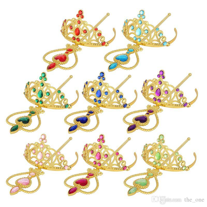 gold rhinestone Princess Cosplay Accessories Children Diamond Crown Tiaras + Magic Wands Kids Christmas Party Gift