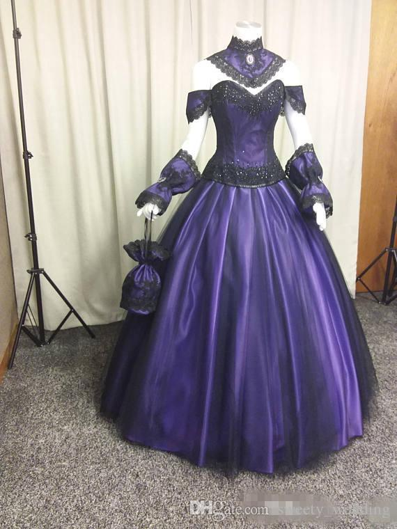 Black Purple Gothic Wedding Dresses 2019 Vintage Plus Size Steampunk Victorian Halloween Vampire Country Garden Wedding Gowns with Choak
